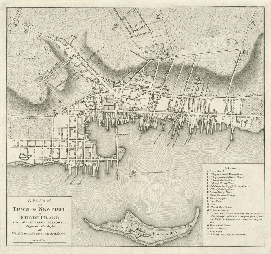 Map of Colonial Newport Rhode Island