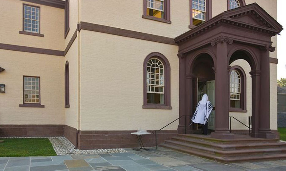 Entrance of Touro Synagogue Newport Rhode Island